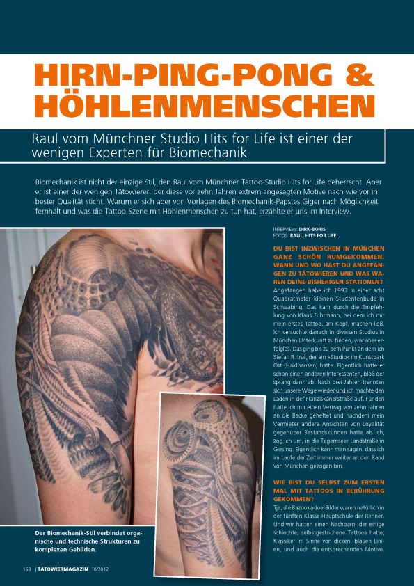 Shit for Life Tattoo Hits for Life Tattoo , it for Life Tattoo, Raul München Biomechanik die 10 besten Tätowierer Deutschlands