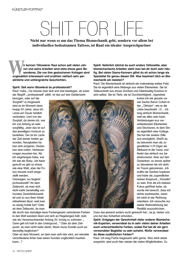Tattoo Spirit Reportage Shit fore life Tattoo Raul München Biomechanik Meister