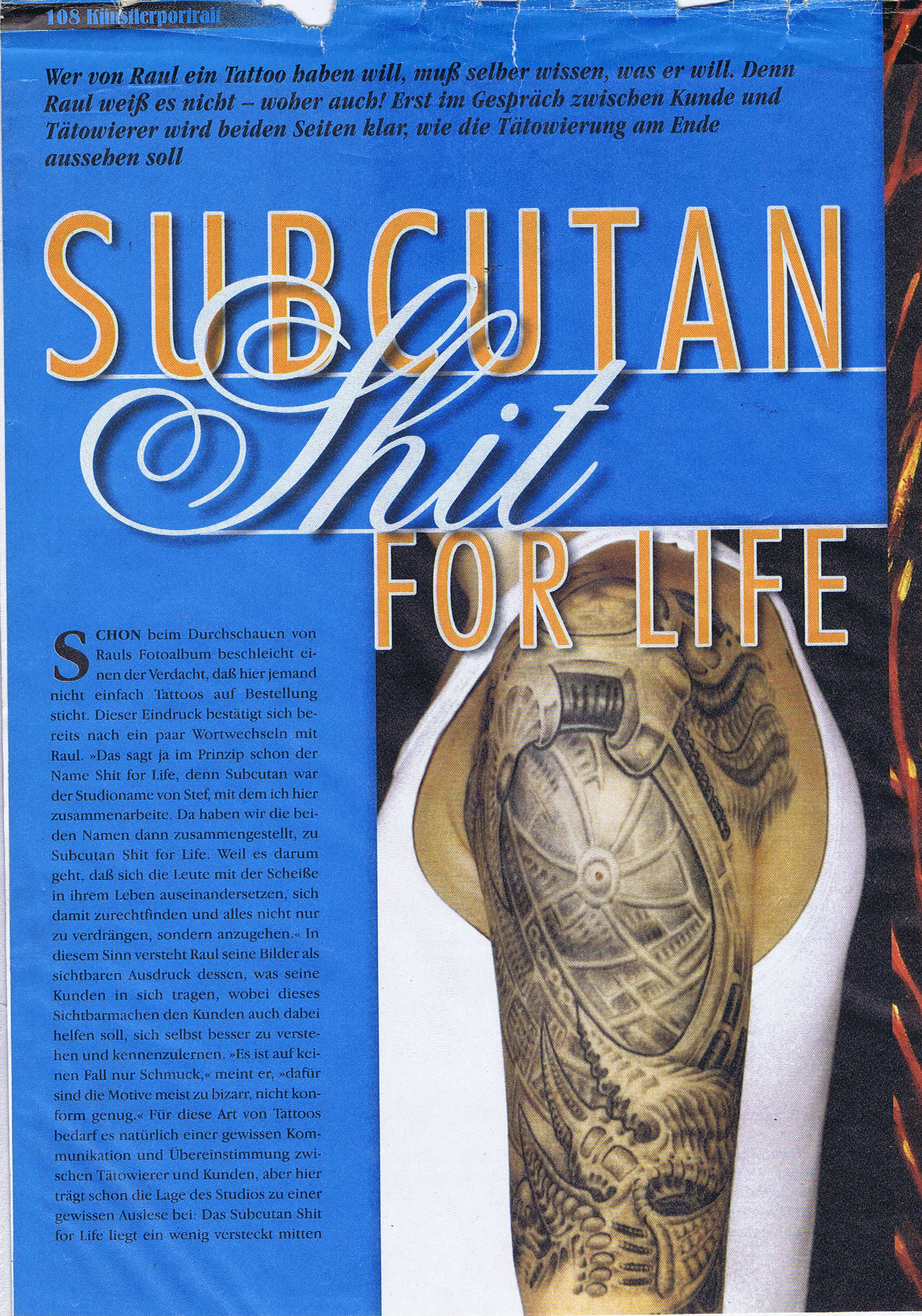 Shit for Life Tattoo Bericht Tätowiermagazin Raul 1999